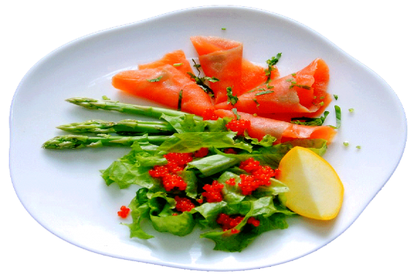 Appertizer smoked salmon with celviar