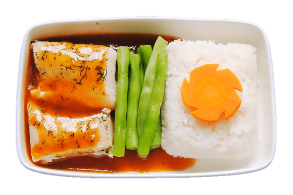 Lemongrass sauce chilli with grouper, steamed rice with vegetable