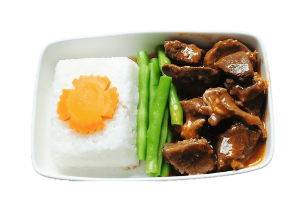 Steamed rice with wine sauced beef